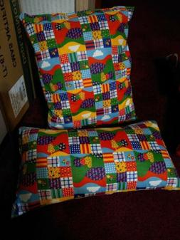 """Quilted both sides Pillow Handmade Set of 2 15""""x 8"""" neck 14"""""""