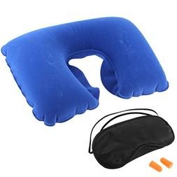 uxcell Travel Relaxing Inflatable Neck Pillow Eye Mask Earph