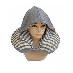 Reversible HOOD Neck Pillow for Airplane Travel Memory Foam