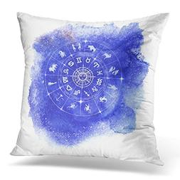 Sdamase Throw Pillow Cover Circle with Signs of Zodiac and C