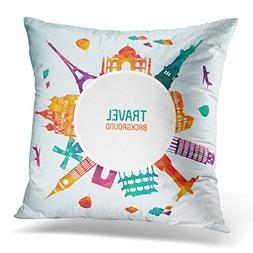 Sdamase Throw Pillow Cover Yellow World Travel and Tourism A