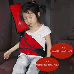 Iokone Red Seatbelt Pillow Seat Belt Adjuster for Kids Safet