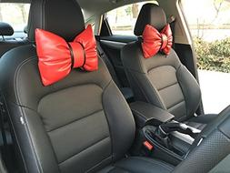 seemehappy Sweet Red Bowknot Leather Neck Pillow Headrest Cu