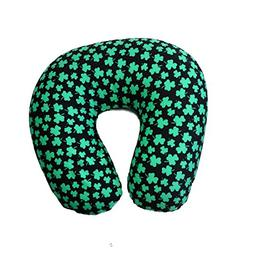 Shamrock Neck Cushion Full Of Micro-Beads, Black With Green