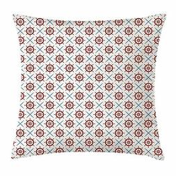Ship's Wheel Throw Pillow Cushion Cover, Nautical Helms and