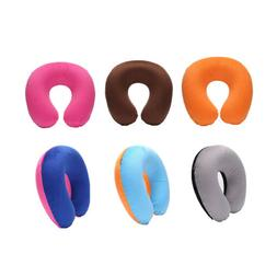 Short Plush Fabric Cover + PVC Inflatable Pillow Neck Pillow