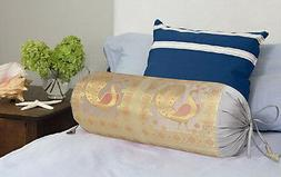 Sofa Bolster Cushion Case Home Silk Massage Yoga Neck Roll T