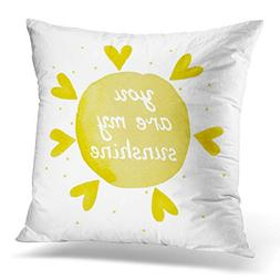 Throw Pillow Cover Abstract You are My Sunshine Yellow Water