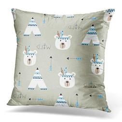 Throw Pillow Cover Blue Baby Indian Bears Wigwams Arrows Bed
