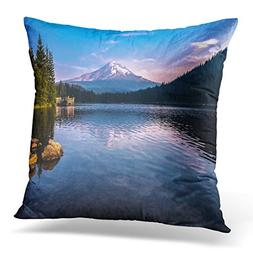 UPOOS Throw Pillow Cover Blue Trillium Mountain Reflections
