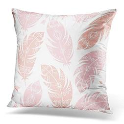 Throw Pillow Cover Boho Aztec Pattern Pink Peach Feathers on