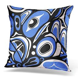 UPOOS Throw Pillow Cover Canadian Abstract Blue Native North