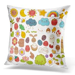 TOMKEYS Throw Pillow Cover Collection of Lovely Baby Forest
