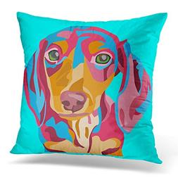 VANMI Throw Pillow Cover Colorful Doxie Light Blue Abstract