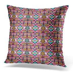 Throw Pillow Cover Colorful Ethnic Aztec Geometric Orange Tr