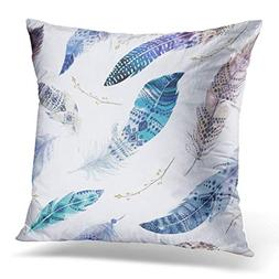 Throw Pillow Cover Feathers Pattern Watercolor Elegant Water