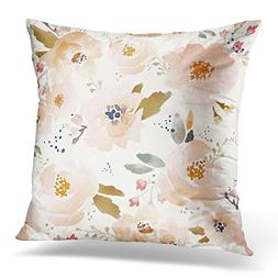 TORASS Throw Pillow Cover Watercolor Girl Indy Bloom Peachy