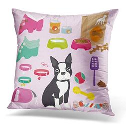 Throw Pillow Cover Pink Dog Some Cute Stuff for Puppy of Bos