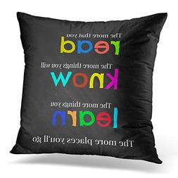 VANMI Throw Pillow Cover Quote Teacher Read and Colorful Ele