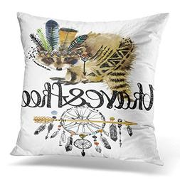 Throw Pillow Cover Raccoon American Indian Chief Headdress W
