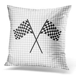 Throw Pillow Cover Race Racing Flag Black Car Chequered Moto