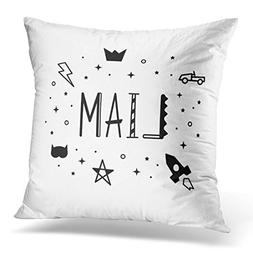 UPOOS Throw Pillow Cover Tag Boys Name Liam Kids Black and W