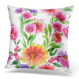 UPOOS Throw Pillow Cover Wildflower Aster Flower Pattern in