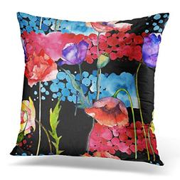 UPOOS Throw Pillow Cover Wildflower Poppy Flower in Watercol