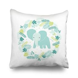 Throw Pillow Covers Cute Elephant Tropical Leaves Wildlife N