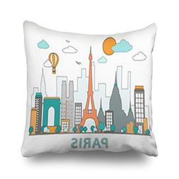 Throw Pillow Covers Thin Line Flat Paris City Arch Parks Out