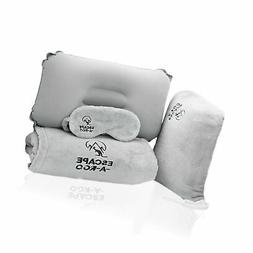 Travel Blanket and Pillow Set - Inflatable for Airplanes - S
