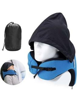 Langria Travel Neck Pillow With Hood Black & Teal NEW Open F