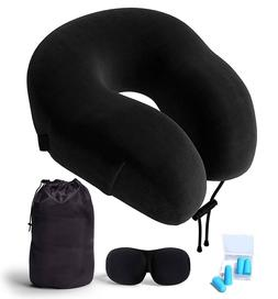 Neck Pillow Eye Mask Ear Plugs Travel Kit 100% Memory Foam C