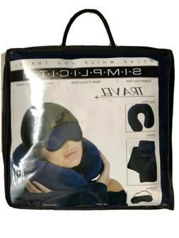 SIMPLICITY TRAVEL SET neck pillow, blanket, eye mask BLUE Br