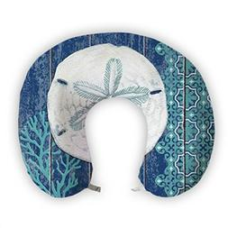 JessPad U-Shape Travel Pillow White And Blue Sea Memory Foam