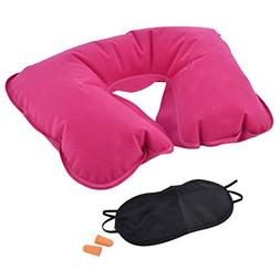 uxcell U Shape Pillow Sleeping Relax Inflatable Neck Eyes Ma