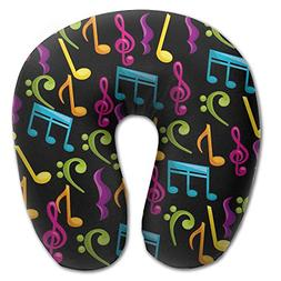 U Shaped Travel Pillow Colorful Jumpy Music Notes Memory Foa