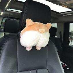 Universal Car Neck Pillow Headrest Seat Cute Soft Corgi Butt