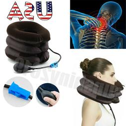US Air Inflatable Neck Pillow Cervical Head Traction pain Re