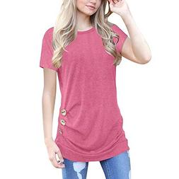 Oliviavan Women Loose Short Sleeve Blouse, Ladies Round Neck