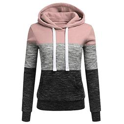 ANJUNIE Womens Casual Hoodies Colorblock Patchwork Sweatshir