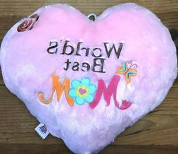World's Best Mom Heart Shaped Pillow Pink Mother's Day Gift
